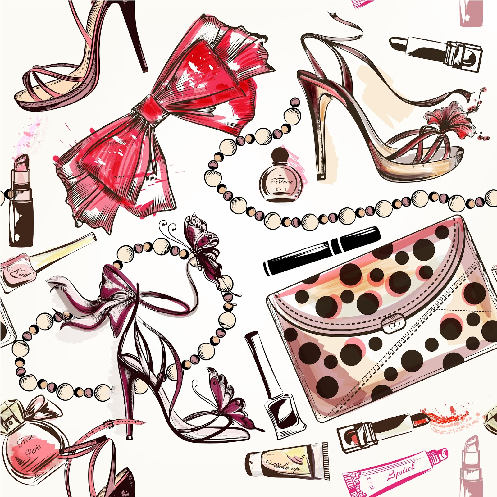 Vectores Fashion Background With Sports Boots And Female