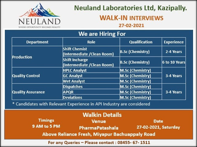 Neuland Labs | Walk-in for Production/QC/QA on 27th Feb 2021