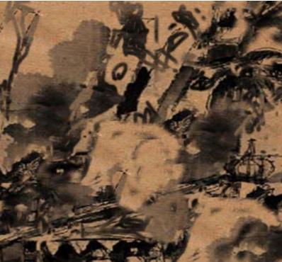 Gambar Teknik Sketsa Murni tinta Oi di atas kertas merang