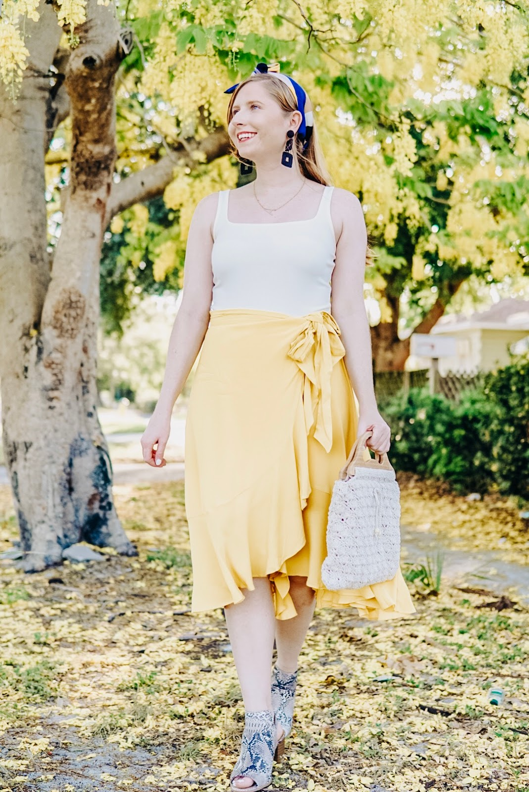 Styling a Casual Yellow Wrap Midi Skirt for Summer | Affordable by Amanda Tampa Blogger | Misred Outfitters Online Yellow Ruffle Wrap Skirt