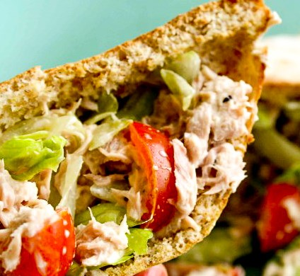 TUNA SALAD IN TOASTED WHOLEWHEAT PITA POCKETS #diet #healthydinner