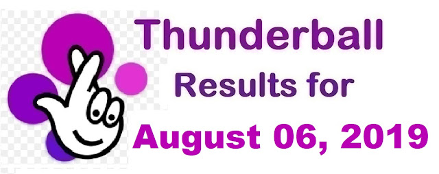 Thunderball results for Tuesday, August 06, 2019