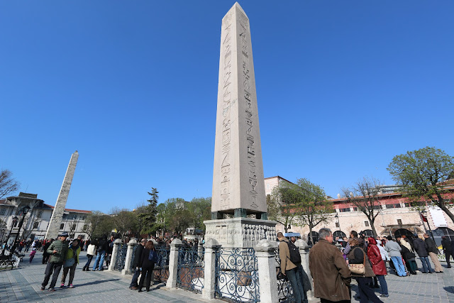 Obelisk of Thutmose III (front) and Walled Obelisk (back) at Hippodrome of Constantinople in Istanbul, Turkey