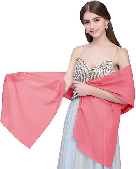 Beautiful Sheer Soft Pink Chiffon Scarves Shawls