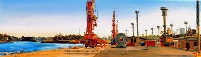 Plein air oil painting of the East Darling Harbour Wharves painted by industrial heritage artist Jane Bennett