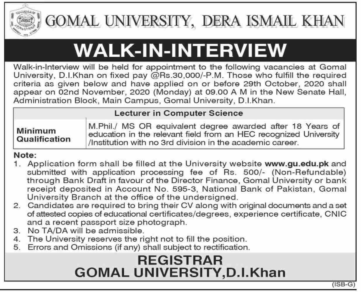 Gomal University Jobs October 2020