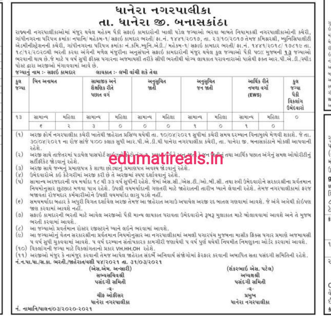 Dhanera Nagarpalika Recruitment