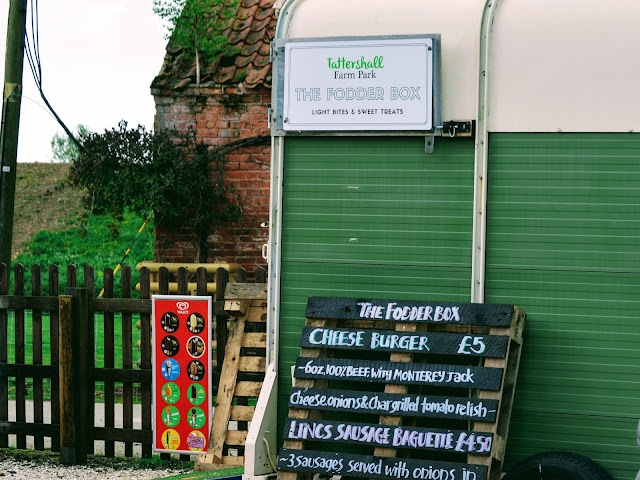 Image taken at Tattershall Farm Park of The Fodder Box which is a green and cream converted horse box that serves food. There are boards outside advertising what they sell which is hot foods such as burgers and hot dogs and a sign indicating they sell various ice creams.