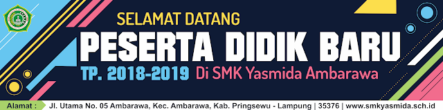 Design Spanduk Selamat Datang Peserta Didik Baru SMK Yasmida