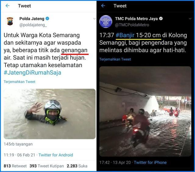 Tepok Jidat! Di Semarang Disebut Genangan, di Jakarta Dibilang Banjir