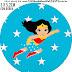 Cumpleaños de la Mujer Maravilla: Toppers para Cupcakes, Stickers o Etiquetas Redondas para Imprimir Gratis.