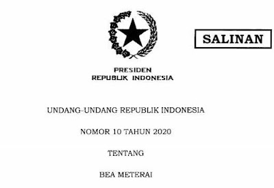 UU No 10 Tahun 2020 Tentang Bea Materai