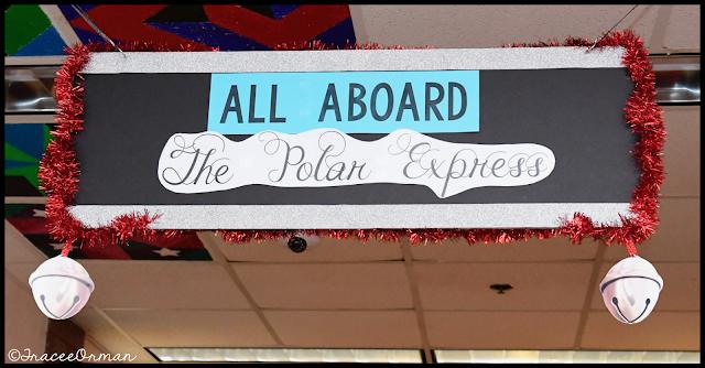 Polar Express sign in hallway