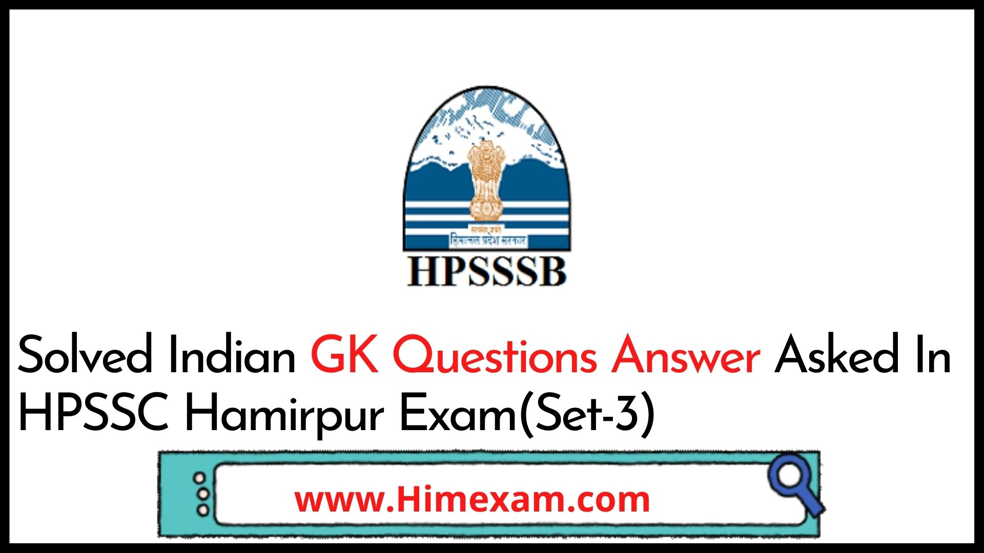 Solved Indian GK Questions Answer Asked In HPSSC Hamirpur Exam(Set-3)