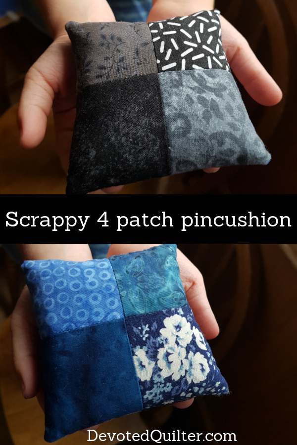 Scrappy 4 patch pincushion | DevotedQuilter.com
