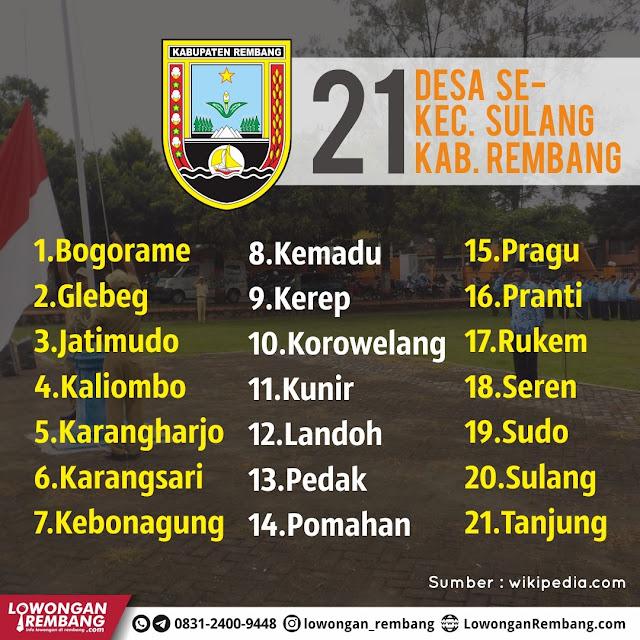 Daftar 21 Desa Se-Kecamatan Sulang Kabupaten Rembang