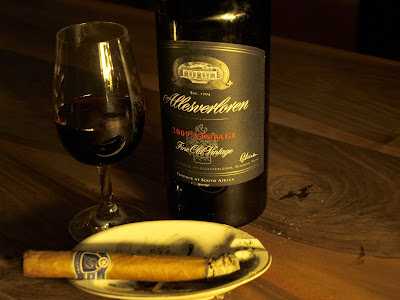 A bottle of Portwine style wine from the Allesverloren estate in South Africa