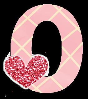 Abecedario Rosa con Rayas Amarillas y Corazones con Glitter. Alphabet with Hearts.