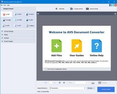 AVS Document Converter cho phép bạn chuyển đổi các tệp giữa DOC, PDF, DOCX, RTF, TXT, HTML