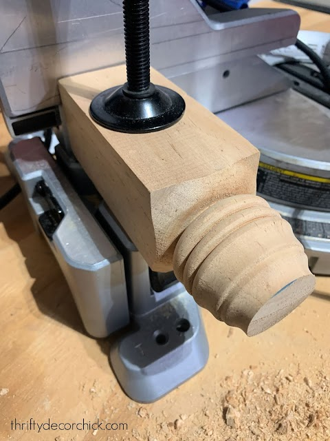 brace on saw for drilling into candlesticks