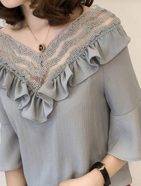 Spring Summer Chiffon Women V-Neck Bowknot Decorative Lace Flounce See-Through Plain Bell Sleeve Half Sleeve Blouses – Price:$ 20.13