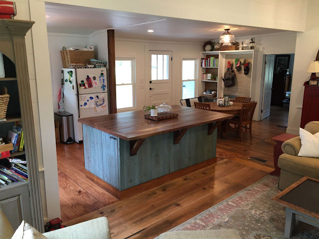 Reclaimed Pine Wood, Walnut, Distressed, Farmhouse Kitchen Island, Wood fronts, Wood countertop,