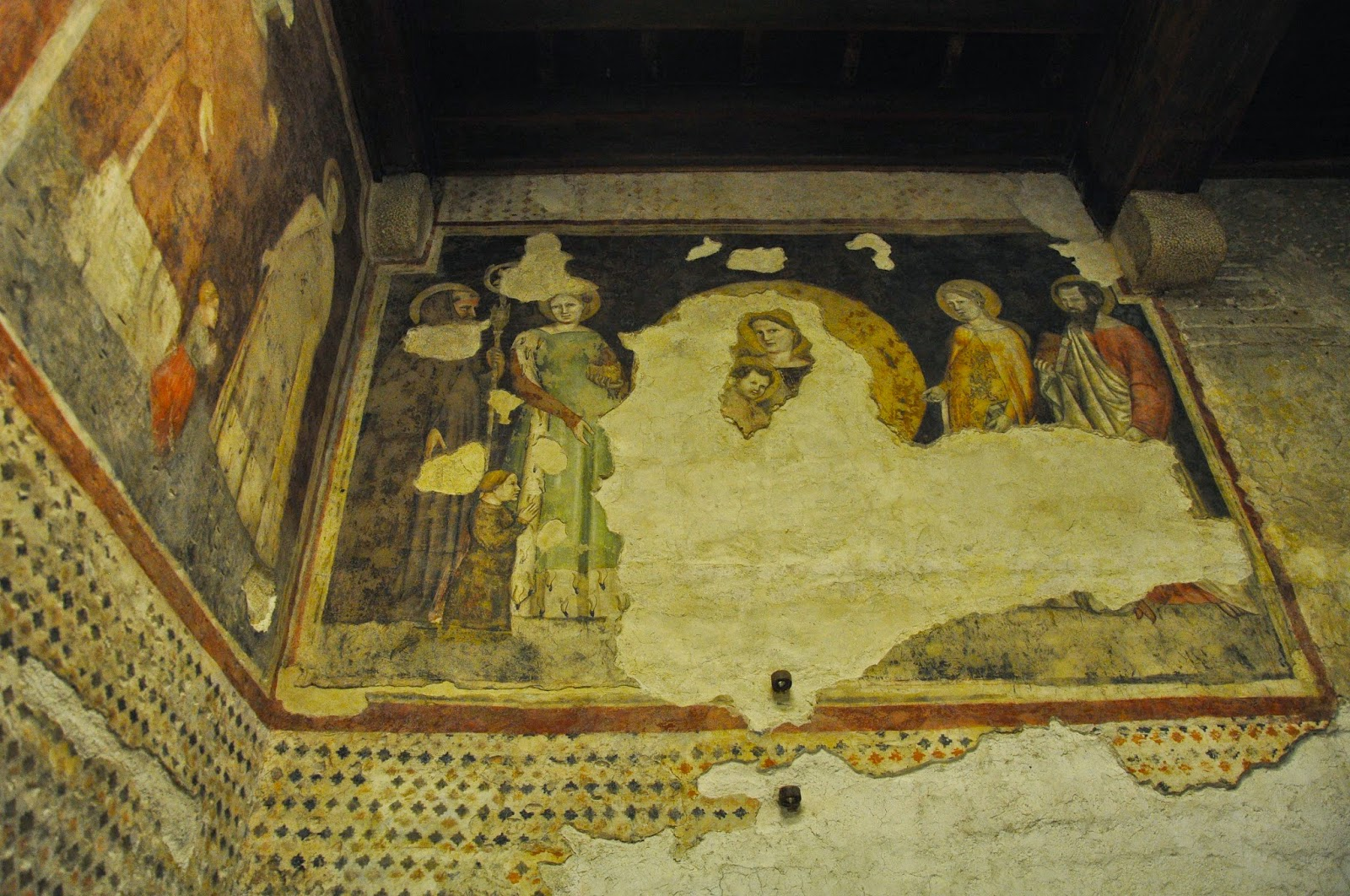 Preserved painting on a wall of a room in the Museum of Castelvecchio in Verona