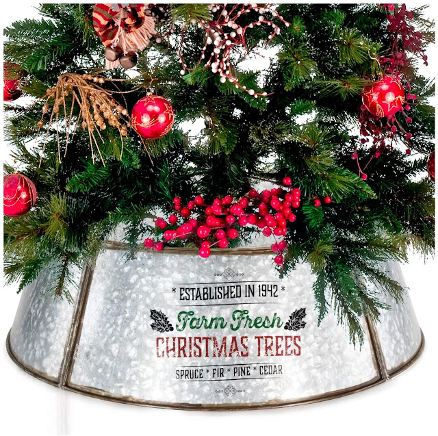 galvanized farmhouse Christmas tree collar