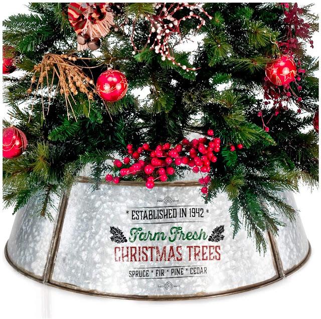 galvanized farmhouse Christmas tree collar