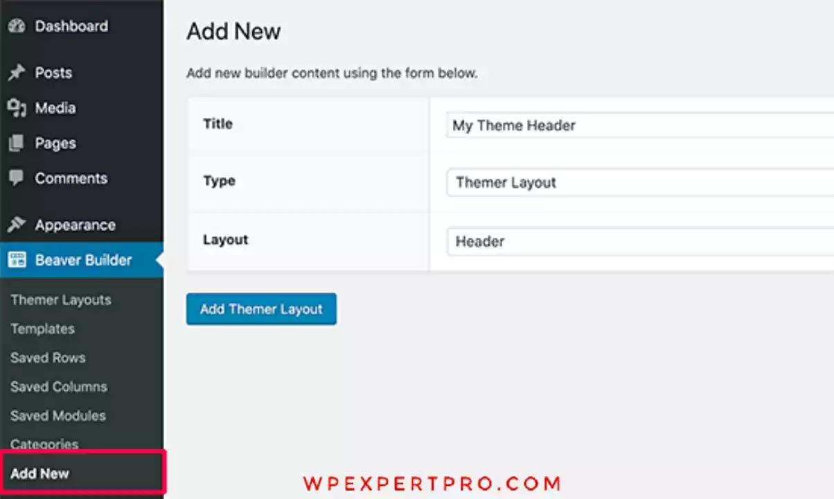 Create new custom header layout