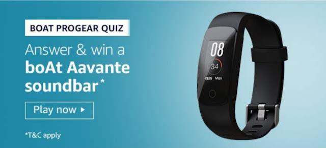Amazon boAt progear Quiz Answers