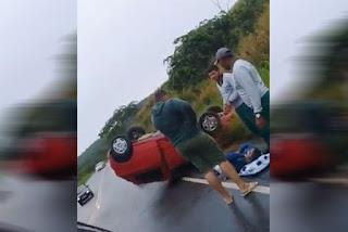 Pastor de Igreja Batista capota o carro em rodovia do Agreste na Paraíba