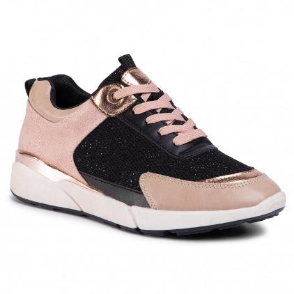 Sneakers dama roz la moda ieftini din piele eco
