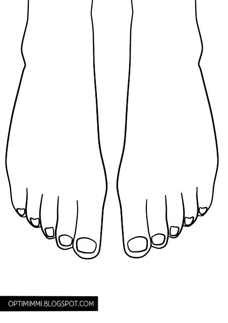 A coloring page of feet, for designing e.g. toe nail art / Värityskuva jaloista, esim. varpaankynsien maalaamisen suunnitteluun