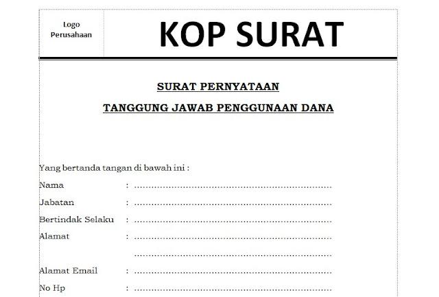 Contoh Surat Pernyataan Pertanggungjawaban Penggunaan Dana Bantuan