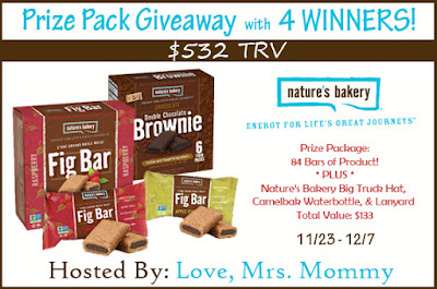 Enter the Nature's Bakery Giveaway. Ends 12/7