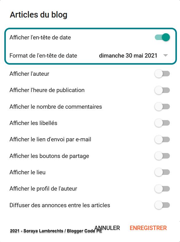 Activer la date d'entête des articles via le panneau de configuration du gadget Blog