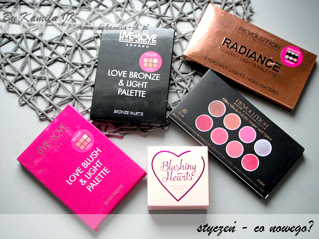 Makeup Revolution MUR Live Love paleta róży rozświetlaczy Bronze Blush and Light Sugar and Spice serduszko Blushing Hearts Iced rozświetlacze Radiance