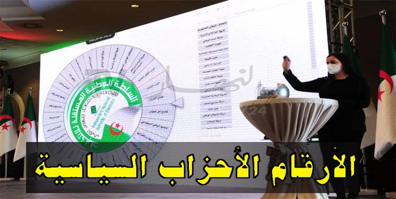 الأرقام الأحزاب السياسية+نتائج  القرعة  و ترقيم الأحزاب+رقم الافلان+رقم الارندي+رقم حمس+مجتمع السلم+جميع الولايات+Algérie+numéros+partis+politiques
