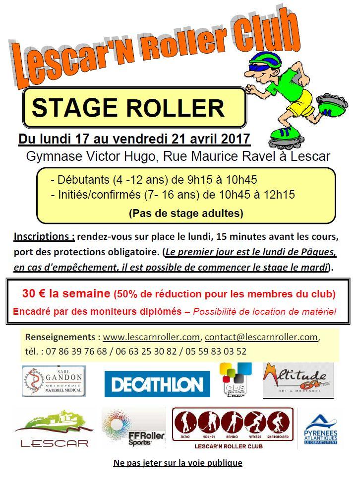 Stage Roller du 17 au 21 avril 2017