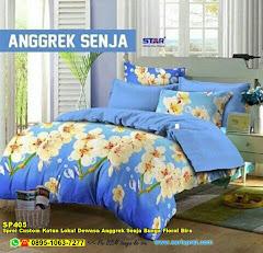 Sprei Custom Katun Lokal Dewasa Anggrek Senja Bunga Floral Biru