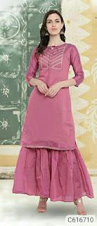 Gorgeous Cotton Blend Gotta Work Kurti & Sharara Sets