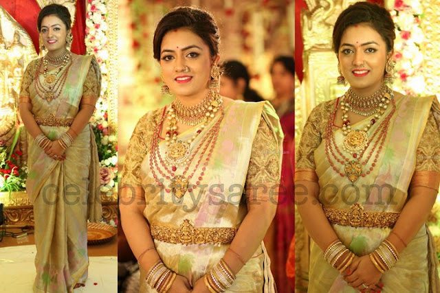 Gold Uppada Saree Heavy Blouse