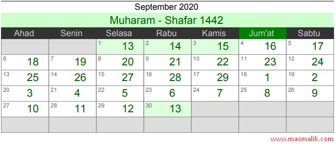 Kalender Islam Tahun 2020, September