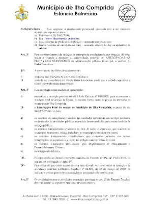 ILHA COMPRIDA DECRETA ESTADO DE CALAMIDADE PÚBLICA E TORNA MAIS RIGOROSA A ENTRADA NA CIDADE