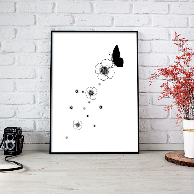 A Little Butterfly with Flowers Ink Art