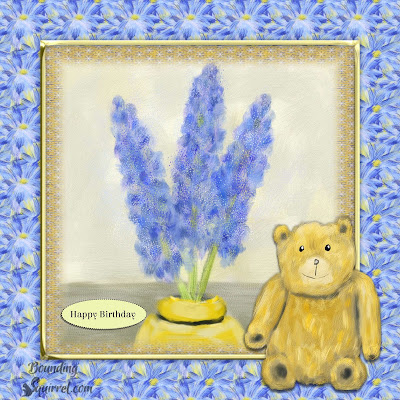 Hyacinths & Teddy Card & Craft Sheet-boundingsquirrel.com