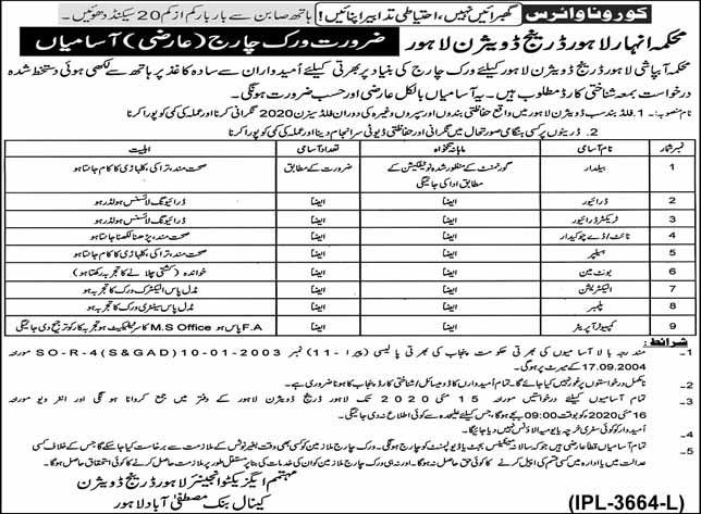 Canal Department Lahore Drainage Division Lahore Job 2020