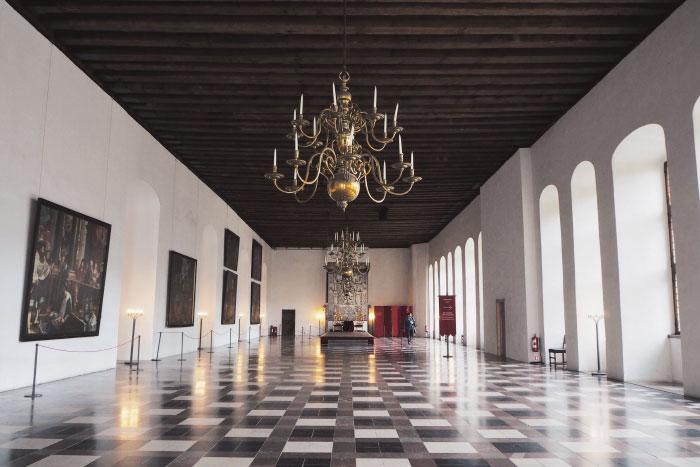 Salle du trône du château de Kronborg au Danemark