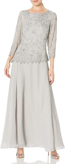 Silver Mother of The Groom Dresses with Sleeves